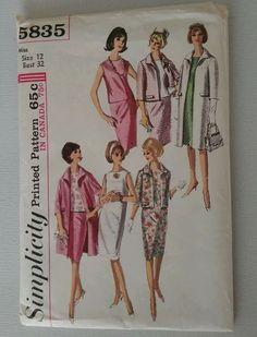 Simplicity # 5835 VTG 1964 Suit Dress-Blouse-Skirt-Jacket or Coat Pattern Sz 16