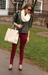 love the burgundy pant with army green jacket