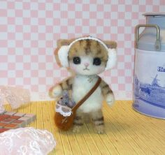 Needle felt - Needle felted cat - Needle felting cat - Handmade cat - Great gift - Holiday gift - cat miniature - cat
