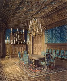 Palace of Count P. S. Stroganov. Dining Room - Jules Mayblum - Drawings, Prints and Painting from Hermitage Museum