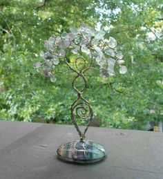 Rainbow Fluorite Twisted Wire Tree Goddess Statue Pagan Wiccan Ritual New Age Ming Tree, Wiccan Rituals, Wire Tree Sculpture, Wiccan Crafts, Crystal Tree, Wire Jewelry, Wiccan Jewelry, Medieval Jewelry, Wire Trees