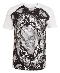 7aae5e5c ALEXANDER MCQUEEN - Lace Skull Printed and Embroidered Cotton T-shirt  Hypebeast T Shirt,