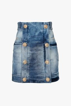 Balmain designer Skirts for women Short Skirts, Mini Skirts, Denim Fashion, Fashion Outfits, Jeans Refashion, All Jeans, Denim Ideas, Embellished Jeans, Denim Mini Skirt