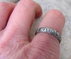 Antique Wedding Band Floral Pattern Ring Silver by SilverSmack, $38.00