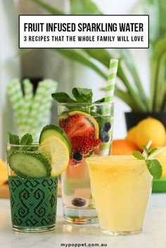 Flavored Water Recipes, Fruit Recipes, Drink Recipes, Salad Recipes, Dessert Recipes, Healthy Recipes, Healthy Soda, Healthy Drinks, Healthy Shakes