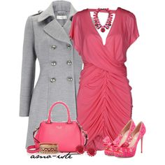 Pink & Grey w/a touch of Red, created by amo-iste on Polyvore
