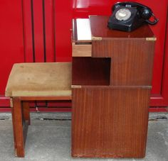 Really fun 1970s Retro Chippy Telephone Seat with Storage