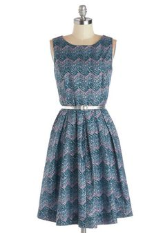 Festivity for Two Dress by Bea & Dot - Private Label, Cotton, Woven, Mid-length, Blue, Multi, Print, Belted, Party, A-line, Sleeveless, Good, Purple, Pleats, Pockets, Exclusives