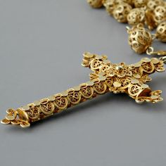 Antique Spanish Victorian Gold Filigree Rosary Necklace
