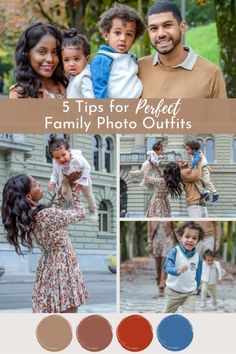 5 Easy Tips for Perfect Family Photo Outfits that will complement a fall photo shoot. Tips for the whole family to be coordinated for family photos. Family Photo Outfits, Matching Family Outfits, Fall Family Photos, Family Pictures, Mommy And Me Dresses, Black Families, Photo Tips, Photo Ideas, Photo Black