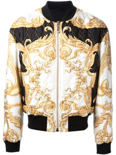 Versace white and gold silk jacket