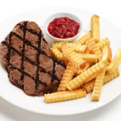 "Want some dessert for ""dinner""? Ice Cream ""steak"" and pound cake ""French fries"" and strawberry jam ""ketchup""."