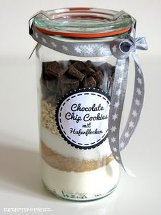 Rezepte mit Herz   ♥: Backmischung im Glas : Chocolate Chip Cookies mit ...