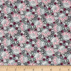 "Downton Abbey II Rose Buttons Pink from @fabricdotcom  Licensed by Carnival Film & Television Ltd. to Andover Fabrics, this cotton print fabric is inspired by the TV series, ""Downton Abbey."" It is perfect for quilting, apparel, crafts, and home decor items. Colors include pink, mint, grey, black, and white."