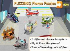 PUZZINGO Planes Puzzles Games for Kids and Toddlers - a set of 7 puzzles (airport, military helicopter, bubble helicopter, crop duster, fighter jet, triplane and steampunk plane). Original Appysmarts score: 84/100 Puzzle Games For Kids, Great Apps, Military Helicopter, Puzzles, Fighter Jets, Preschool, Planes, Toddlers, Learning