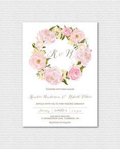 PRINTABLE Wedding Invitation - Vintage Chic Watercolor Peonies and Roses Wedding Invitation - Romantic Floral Wreath Suite