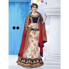 Off White and Multi Color Net Lehenga Choli with Embroidery Work