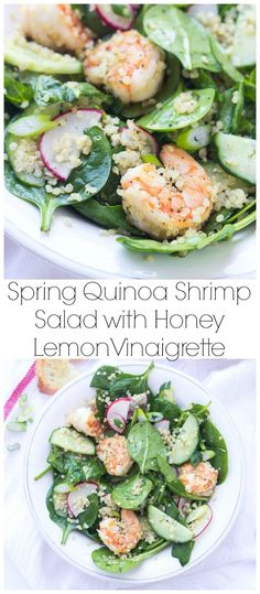 Spinach, cucumbers, radishes with sauteed shrimp, tossed in the BEST zesty Honey Lemon Vinaigrette