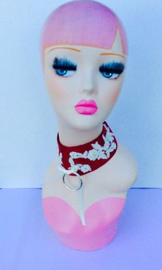 Petplay collar choker neck RED LUXURY super kawaii ddlg lolita good baby girl  kitty play BDSM jewllery alternative fashion by UTIEMEUPTIEMEDOWN on Etsy