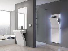 Wall-mounted steel towel warmer TRATTO Officina delle Idee Collection by IRSAP Washroom Design, Electric Radiators, Towel Warmer, Towel Rail, Medusa, Three Dimensional, Bathroom Medicine Cabinet, Bathtub, House Design