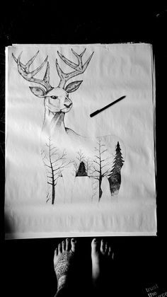 Dotted deer and trees