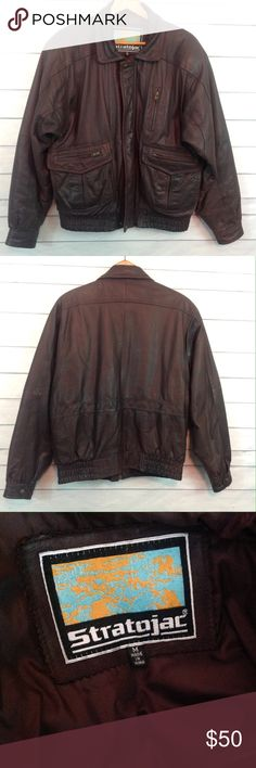 Mens Brown Leather Bomber Jacket Medium EUC Fantastic jacket, excellent condition! Stratojac brown genuine leather jacket. Size Medium.  Fully lined. 🔹Ask all questions before you purchase!  🔹No trades or holds, but I happily consider offers via the Offer Button! 🔹Bundle for best prices or ask for a custom bundle! Stratojac Jackets & Coats Bomber & Varsity