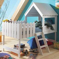 Lovely Einzigartiges Hochbett als BAUMHAUS Spielbett aus Massivholz in der Farbe Wei Dannenfelser Kinderm bel Hamburg