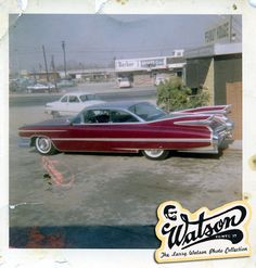 "Larry's own 1959 Cadillac soon after he finished it, photographed at Larry's ""Peanut House"" Rosecrans Blvd. shop. Wonderful snapshot and by the looks of it it must have been taped or pinned on one of Larry's shop walls for some time."