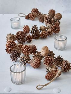 This lovely pine garland will add a cosy rustic ski-lodge charm to your festive decorations. - Mona McKinnerney - - This lovely pine garland will add a cosy rustic ski-lodge charm to your festive decorations. Easy Christmas Decorations, Pine Cone Decorations, Decorating With Pine Cones, Wedding Decorations, Garland Wedding, Wedding Centerpieces, Wedding Table, Fall Wedding, Table Decorations