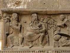 Moissac. Abbey. South Door - Dives and Lazarus sequence.