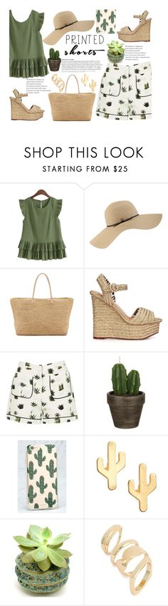 """""""Cactus Shorts"""" by juliehalloran ❤ liked on Polyvore featuring Coal, Hat Attack, Charlotte Olympia, Topshop, John Lewis, Sonix, CAM, Leith and printedshorts"""