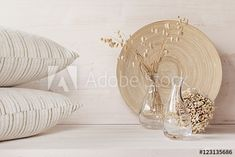 Soft home decor of glass vase with spikelets and knitted fabric on white wood background. Design Trends, Decor, House Design, Interior, Things To Sell, Wood Background, Glass Vase, Place Card Holders, White Wood