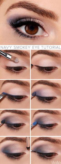 Navy Smokey Eye Makeup Tutorial - If eyes are the window to the soul, make them smolder with our navy blue smokey eye tutorial! It's our favorite sultry look for spring. Navy Eye Makeup, Eye Makeup Tips, Mac Makeup, Beauty Makeup, Makeup Ideas, Makeup Trends, Makeup Hacks, Makeup Brushes, Eyeliner Ideas