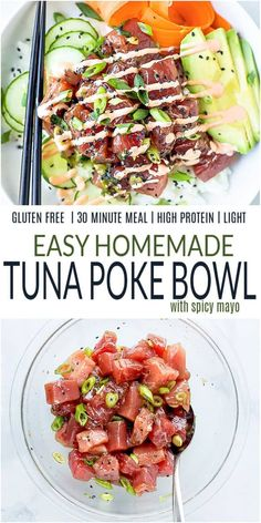 Make your own Homemade Tuna Poke Bowl in just 20 minutes! Fresh raw tuna marinated in soy sauce and sesame oil served on a bed of rice with all your favorite toppings and drizzled with spicy mayo sauce. Healthy Gluten Free Recipes, Healthy Eating Recipes, Lunch Recipes, Healthy Dinners, Healthy Eats, Asian Dinner Recipes, Easy Asian Recipes, Best Seafood Recipes, Healthiest Seafood