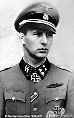 Standartenführer (colonel) Waffen SS Waldemar Fegelein was the brother of SS-Gruppenführer Hans Fegelein, senior ajudant to Himmler, who was shot for treason on April 28, 1945.Waldemar was winner of the Knight's Cross of the Iron Cross. He served on the Eastern Front and went on to command an SS Division, 37.SS Volunteer Cavalry Division Lützow. He survived the war and died in 2000 at the age of 88.