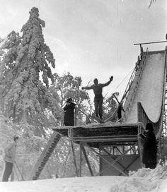 Fortepan 1924-ben avatták fel az első síugrósáncot - Normafa