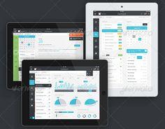 ipad tablet ios 7 ui kit - ios app dashboard psd - ios 7 ui elements - ios 7