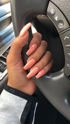 Summer coffin acrylics coffin acrylics, pink, orange, vibrant, spring, long nails