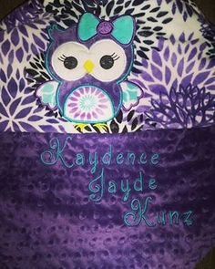 Personalized Owl, Custom Minky, Made to Order by YouniqueBabyBoutique on Etsy https://www.etsy.com/listing/453181538/personalized-owl-custom-minky-made-to