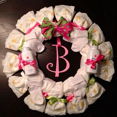 Personalized DIAPER WREATH Baby Shower Gift Custom Decoration GIRL Custom Hot Pink and Lime Green. $35.00, via Etsy.