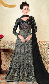 Black Color Satin Floor Length Anarkali Suit #fancyanarkalisuitimages #chanderianarkali Attain a desirable value and a dainty style with this black color satin floor length Anarkali suit. You will see some fascinating patterns  done with lace, resham and stones work. USD $ 104 (Around £ 72 & Euro 79)