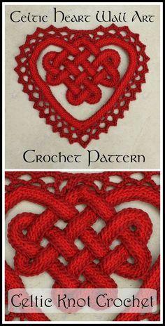Crochet Square Patterns, Crochet Squares, Crochet Motif, Crochet Designs, Crochet Stitches, Celtic Patterns, Heart Patterns, Celtic Heart Knot, Celtic Knots