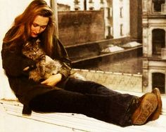 Meryl Streep and the cat #famous #people #cats