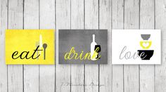 Kitchen Wall Art Print Set Eat Drink Love YellowGrey