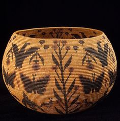 Coiled Basket by Lucy Telles [Native American artist] Collection of the Smithsonian Museum of the American Indian