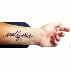 //Ephesians 2:8-9// saved by grace tattoo / small / arm