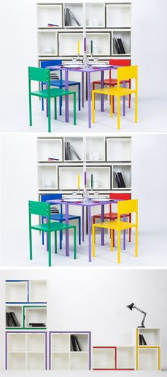 Again, very normal to look at. Though it may be quite odd why they are in different colors. But then, you'd see why that is necessary since the table and chairs could actually be inserted on the slots in a white shelf. It goes with unique design and space saving efficiency.