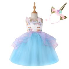 Online Gifts: Are You Interested In Great Gifts At Thegiftdirect Wedding Dresses For Kids, Dresses Kids Girl, Girls Party Dress, Kids Outfits, Summer Girls, Kids Girls, Cartoon Outfits, Elsa Dress, Unicorn Headband