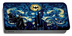 Starry Knight Portable Battery Charger Available for @pointsalestore #portablebatterycharger #case #starry #night #starrynight #dark #knight #darkknight #painting #oilpainting #digitalpainting #vangogh #bat #man #symbol #logo #geeky #nerd