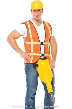 No one crosses the street when they see this sexy guy working on the construction site. With a PVC jackhammer belt, safety vest and toy helmet, this man has every tool in the trade to make anyone melt. Plus Size Lingerie, Sexy Lingerie, Amazing Halloween Costumes, Memes Arte, Bob The Builder, Male Cosplay, Catwalk Fashion, Vintage Grunge, Construction Worker